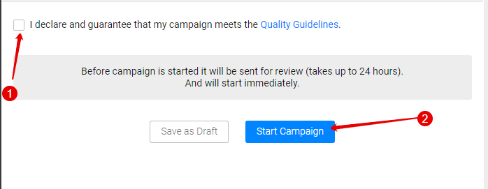 PropellerAds rules and start the campaign