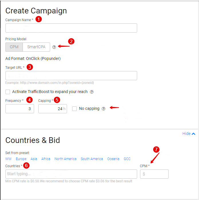 Overview of the PropellerAds create campaign