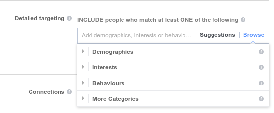 Targeting options in Facebook