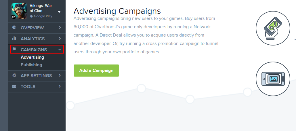 Starting a new campaign chartboost