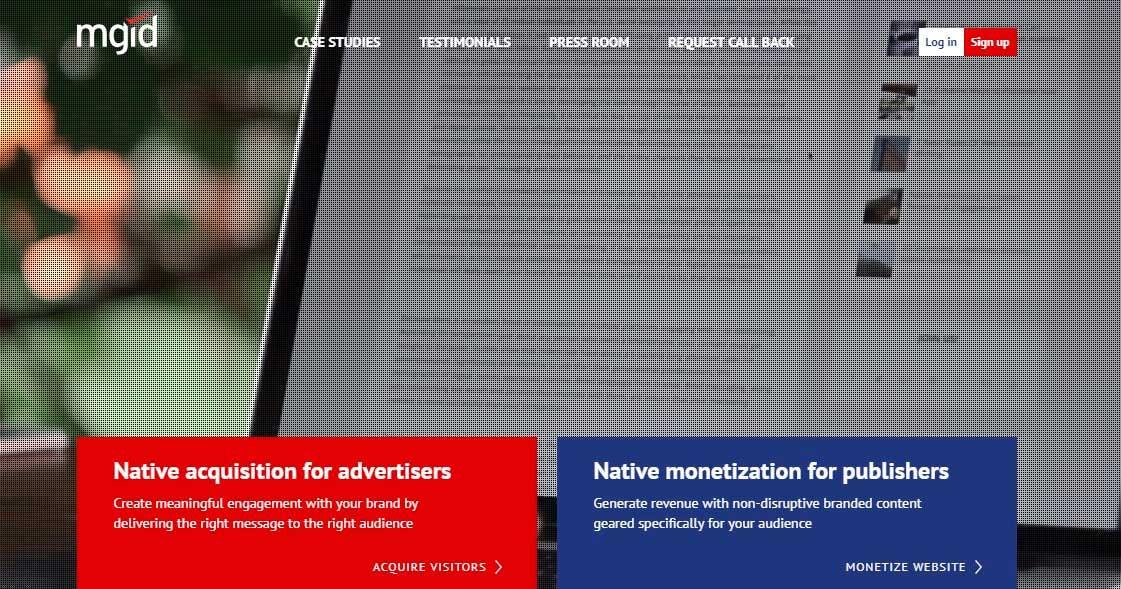 Главная страница сайта рекламной сети mgid