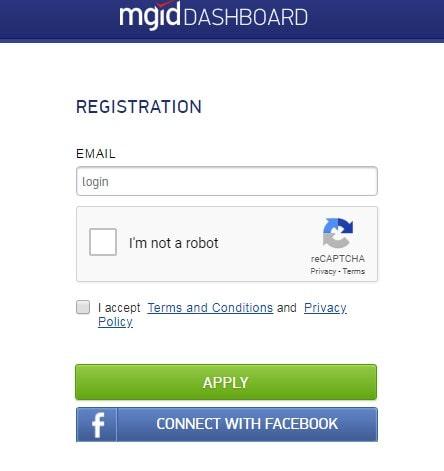 Форма регистрации на сайте mgid